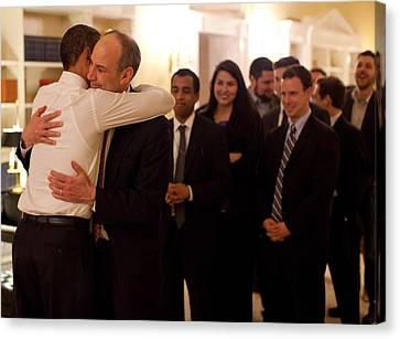 President Obama Hugs Phil Schiliro Canvas Print by Everett