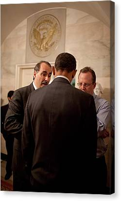 President Obama In A Briefing Canvas Print