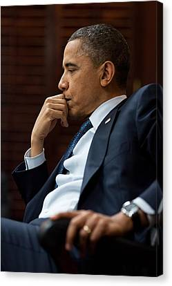 President Obama In A Meeting On Libya Canvas Print