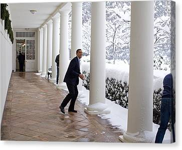 President Obama In A Snowball Fight Canvas Print by Everett