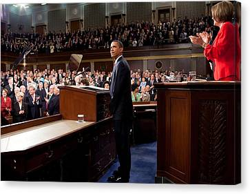 President Obama Is Applauded Canvas Print