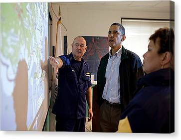 President Obama Is Briefed By Admiral Canvas Print by Everett