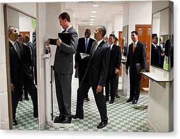 President Obama Jokingly Puts His Toe Canvas Print