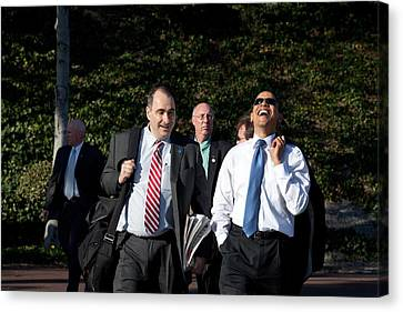 President Obama Laughs While Walking Canvas Print by Everett