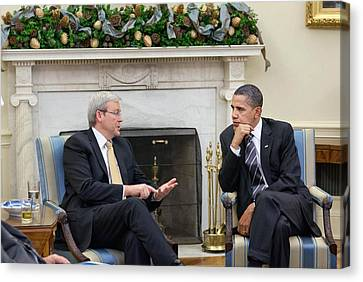 President Obama Meets Prime Minister Canvas Print by Everett