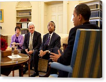 President Obama Meets With Civil Rights Canvas Print