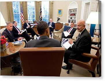 President Obama Meets With Director Canvas Print by Everett