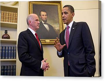 President Obama Meets With Greek Prime Canvas Print by Everett