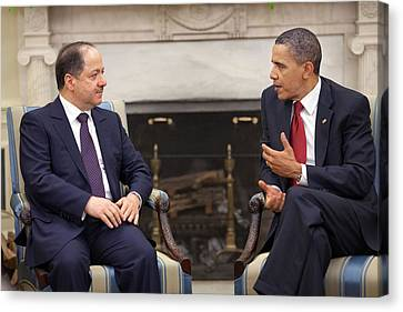 President Obama Meets With Masoud Canvas Print by Everett