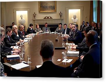 President Obama Meets With Members Canvas Print