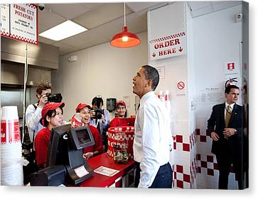 President Obama Orders Lunch At Five Canvas Print