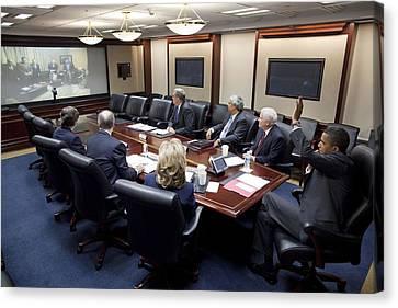 President Obama Participates In A Video Canvas Print