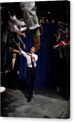 President Obama Shakes Hands Extended Canvas Print by Everett