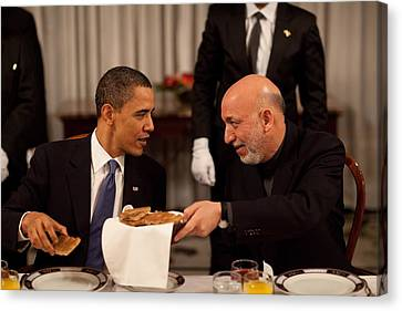 President Obama Talks With Afghan Canvas Print