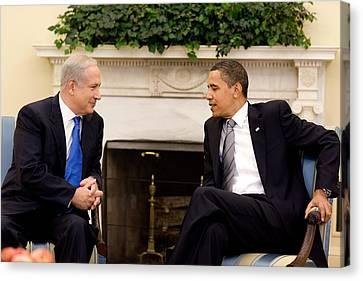 President Obama Talks With Israeli Canvas Print