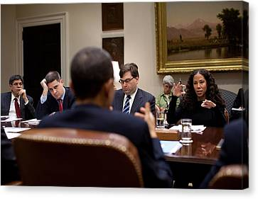 President Obama Talks With Mona Sutphen Canvas Print by Everett
