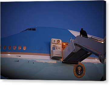 President Obama Walks Up The Stairs Canvas Print by Everett