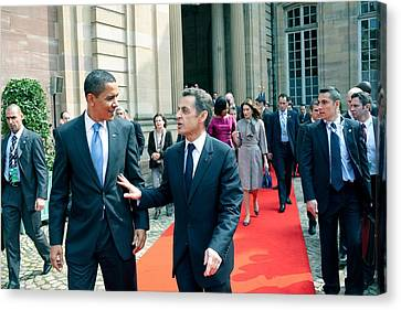 President Obama Walks With French Canvas Print