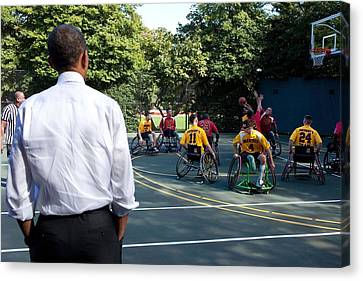 President Obama Watches The National Canvas Print by Everett