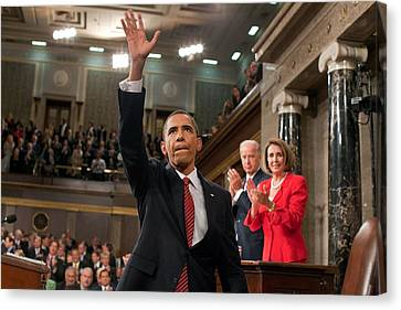 President Obama Waves To The First Lady Canvas Print by Everett