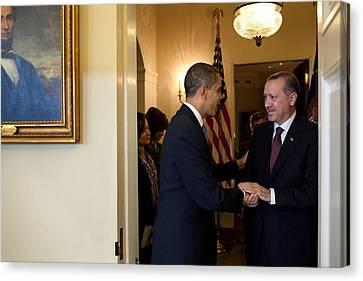 President Obama Welcomes Prime Minister Canvas Print