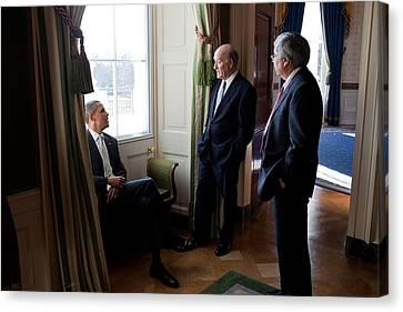 President Obama With Interim Chief Canvas Print by Everett