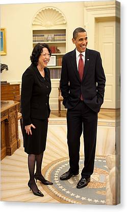 President Obama With New Justice Sonia Canvas Print