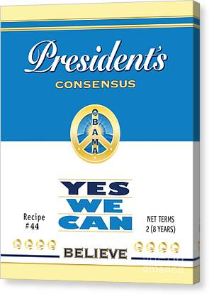 President Obama Yes We Can Soup Canvas Print by NowPower -