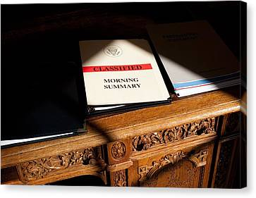 President Obamas Classified Morning Canvas Print