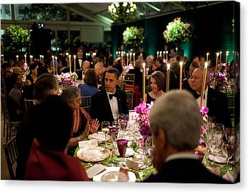 President Obamas Table At The State Canvas Print
