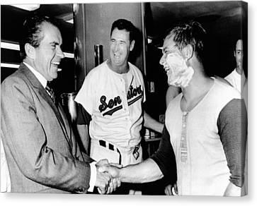 Williams Ted Canvas Print - President Richard Nixon Greets by Everett