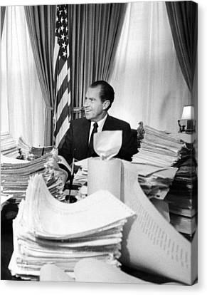 President Richard Nixon Sitting Among Canvas Print by Everett