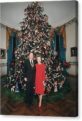 President Ronald Reagan, First Lady Canvas Print by Everett