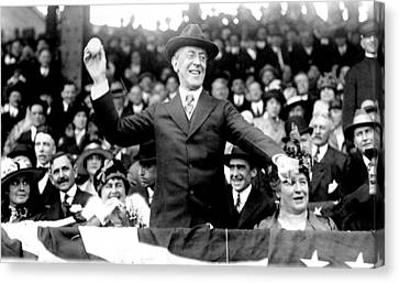 President Woodrow Wilson Throws Throws The First Pitch On Opening Day - C 1916 Canvas Print by International  Images