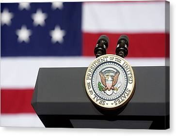 Presidential Seal At A Town Hall Canvas Print by Everett