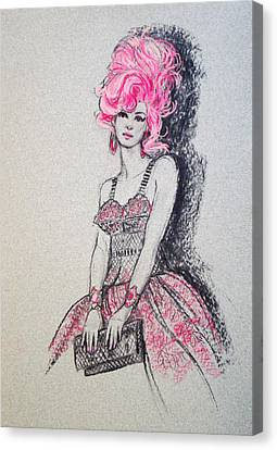Canvas Print featuring the drawing Pretty In Pink Hair by Sue Halstenberg