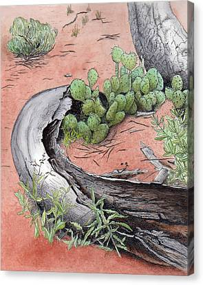 Prickly Pear Cacti In Zion Canvas Print by Inger Hutton