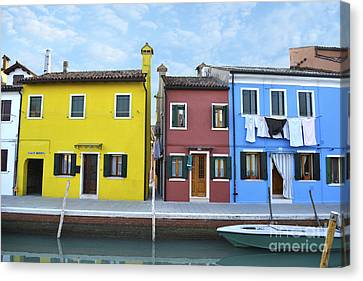 Canvas Print featuring the photograph Primary Colors In Burano Italy by Rebecca Margraf