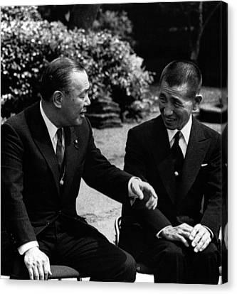 Prime Minister Kakuei Tanaka With Hiroo Canvas Print by Everett