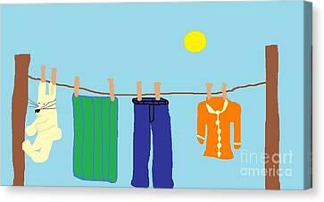 Jordan Canvas Print - Primitive Clothesline by Jeannie Atwater Jordan Allen