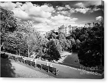Princes Street Gardens In Edinburgh City Centre Scotland Uk United Kingdom Canvas Print by Joe Fox