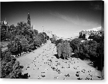 Princes Street Gardens On A Hot Summers Day In Edinburgh Scotland Uk United Kingdom Canvas Print by Joe Fox