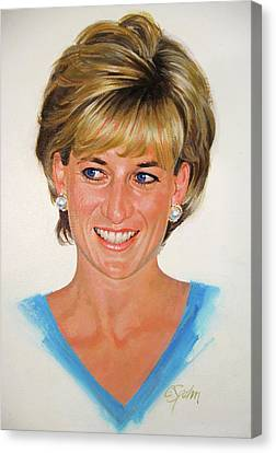 Canvas Print featuring the painting Princess Diana by Cliff Spohn