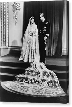 Princess Elizabeth And Prince Philip Canvas Print by Everett