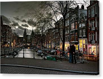 Prinsengracht And Spiegelgracht. Amsterdam Canvas Print by Juan Carlos Ferro Duque