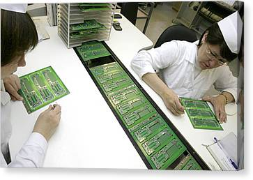 Electronic Component Canvas Print - Printed Circuit Board Assembly Work by Ria Novosti