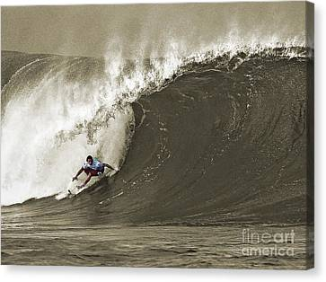 Pro Surfer Julian Wilson Surfing In The Pipeline Masters Contest Canvas Print by Paul Topp