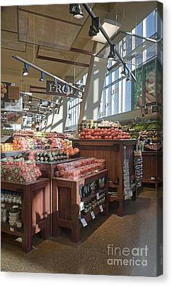 Produce Section Of A Grocery Store Canvas Print