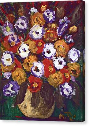 Canvas Print featuring the painting Profusion Of Blooms by Milada Dohnalek