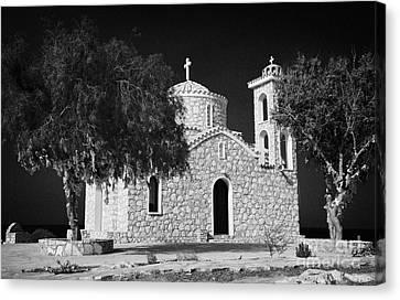 Prophet Elias Church Profitis Ayios Elias With Prayer Rag Trees Hilltop Protaras Republic Of Cyprus Canvas Print by Joe Fox
